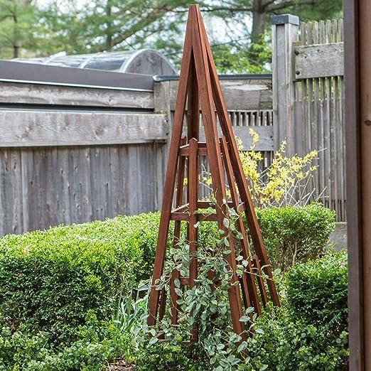 Palos Outdoor Enrejado de jardín Obelisk de Madera con Acabado de Canela, para jardinería al Aire Libre: Amazon.es: Jardín