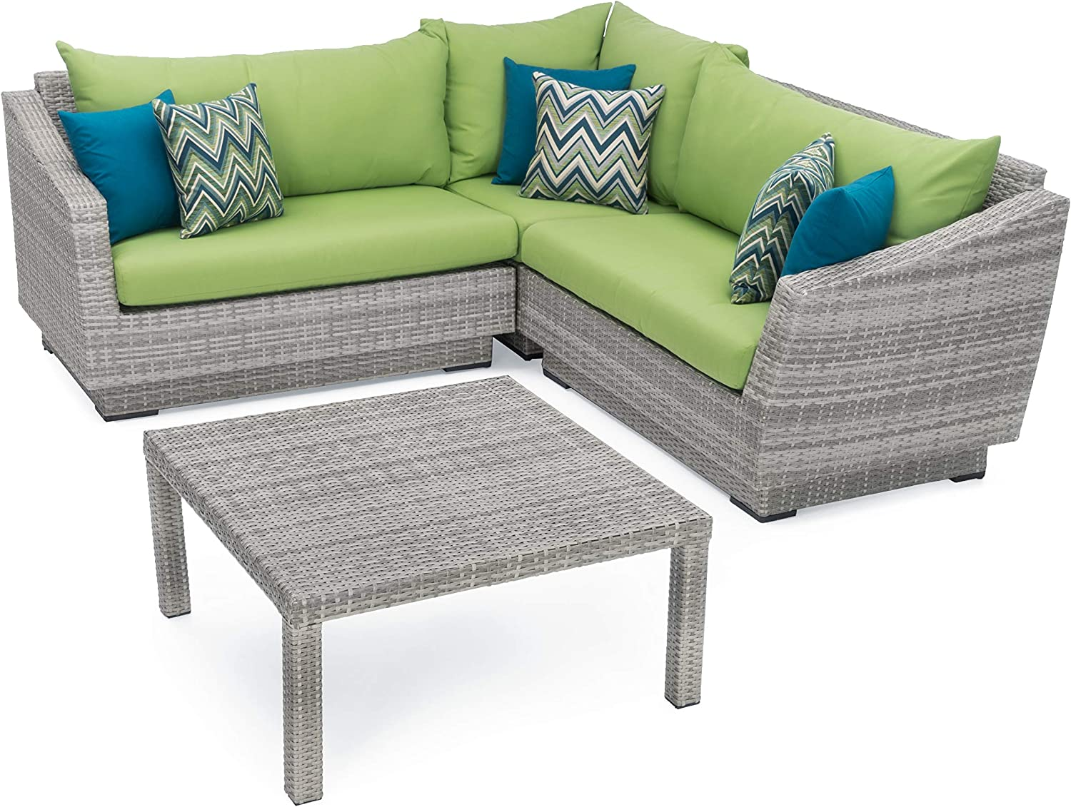 RST Brands Cannes 4pc Corner Sectional Set with Ginkgo Green Cushions