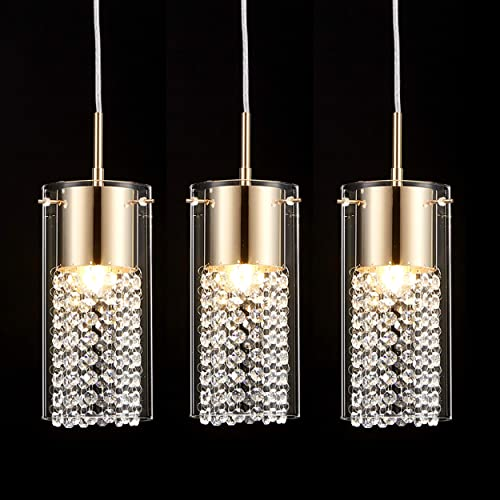 Tayanuc Crystal Ceiling Pendant Lighting with Golden Finish, Crystal Chandelier Ceiling Light Fixture for Dining Room Kitchen Island Bedroom, Set of 3