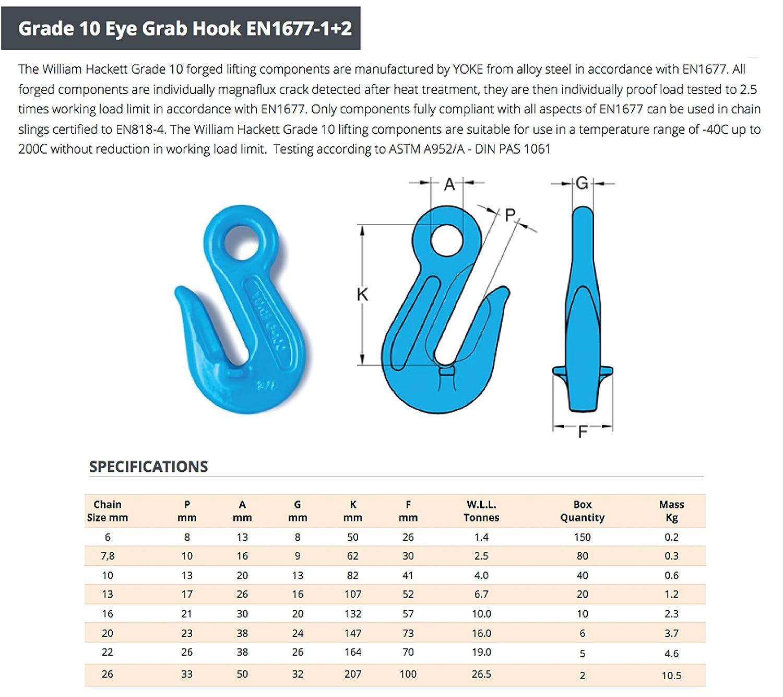 Hackett AMZ1023194/catena Sling con ganci 6mm Chain Dia 1
