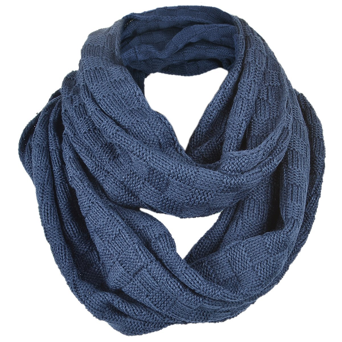 Unisex Soft Knit Winter Infinity Scarf (Multicolor Choose) FORBUSITE E5081b-Navy