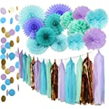 Mermaid Party Supplies Tissue Pom Poms Teal Paper Fan Flower/Under the Sea Backdrop Sea Theme Baby Shower Decorations First Birthday Decorations Purple Bridal Shower Decorations Mermaid Party Supplies