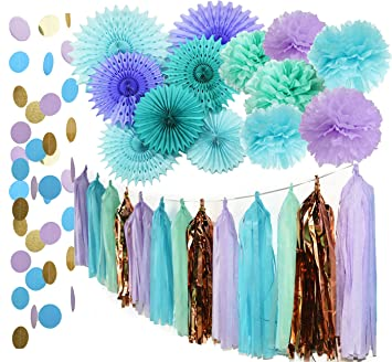 Mermaid Party Supplies Tissue Pom Poms Teal Paper Fan Flower/Under The Sea  Backdrop Sea