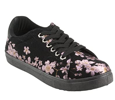 7d61875e47 Betani Women s Miss-6 Round-Toe Floral Lace-up Fashion Sneakers (6