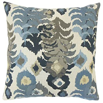 the pillow collection p18flat rob pashatex indigo p100 henriette ikat throw pillow - The Pillow Collection