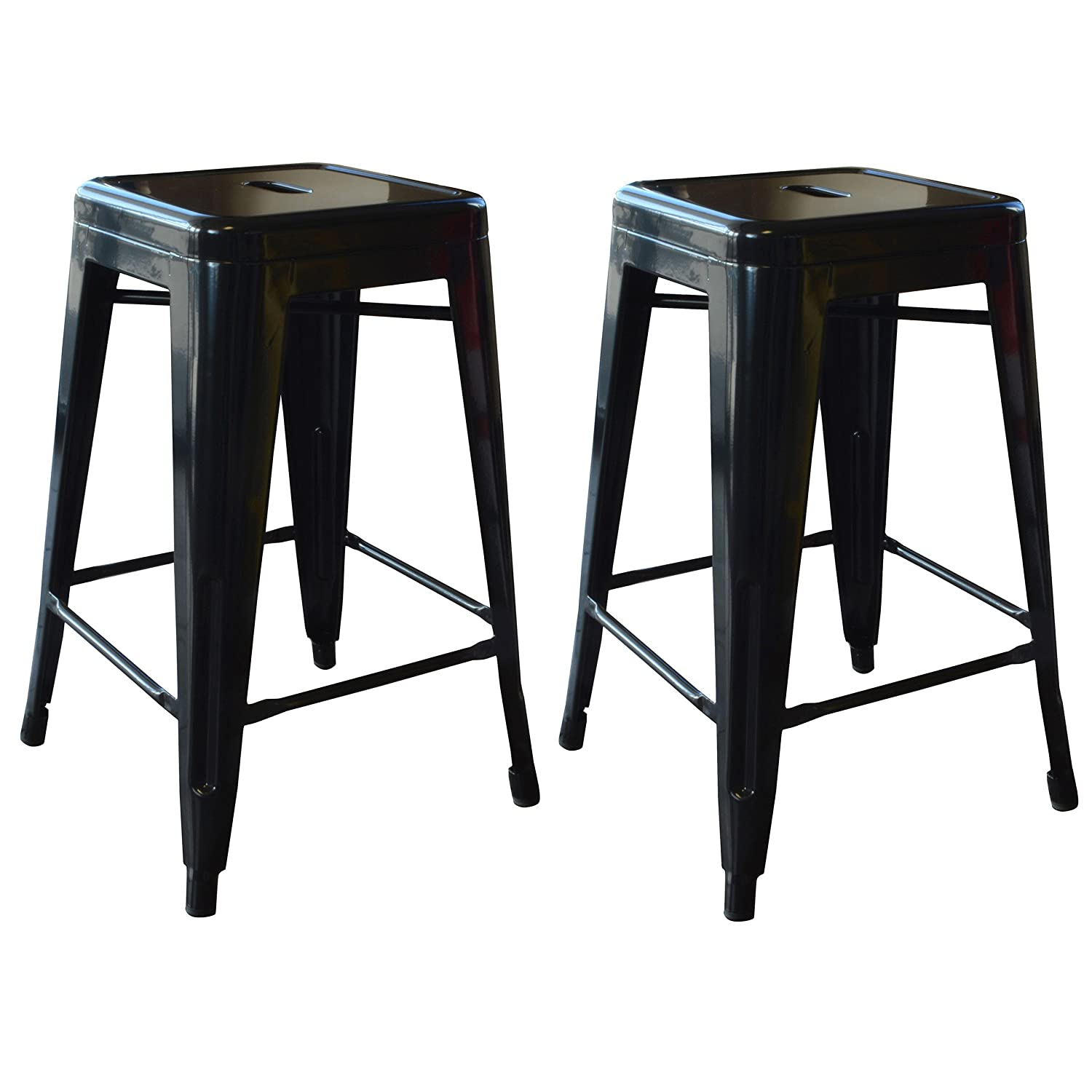 Fabulous Amerihome 2 Piece Metal Bar Stool Black 24 Inch Evergreenethics Interior Chair Design Evergreenethicsorg