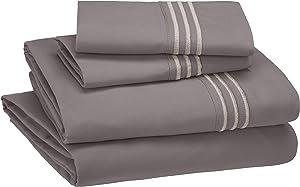 AmazonBasics Premium, Easy-Wash Embroidered Hotel Stitch 120 GSM Sheet Set - Full, Dark Grey