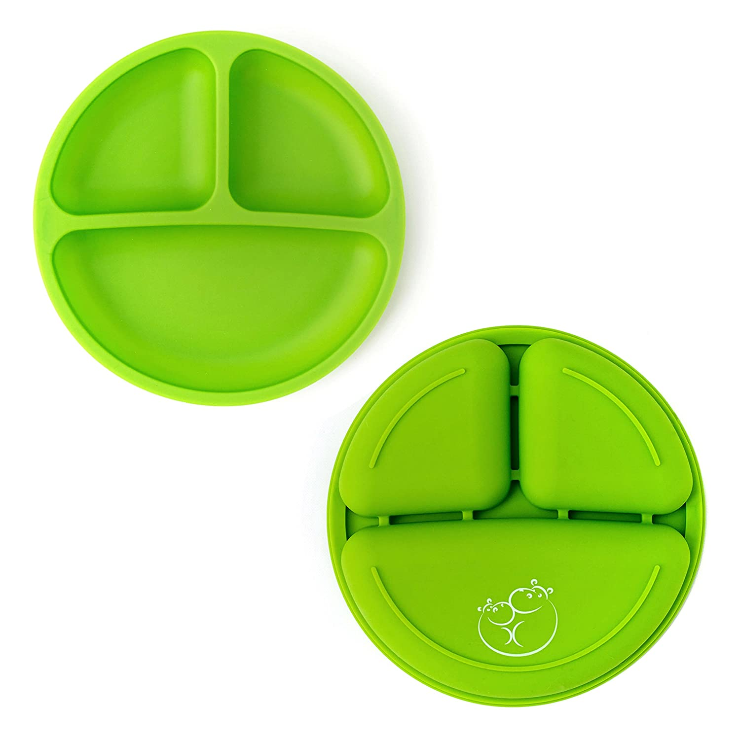 Green Set of 3 Microwave Safe Dishes Blue Silicone Plate with Dividers for Baby Toddler Plates Kids /& Toddlers Gray