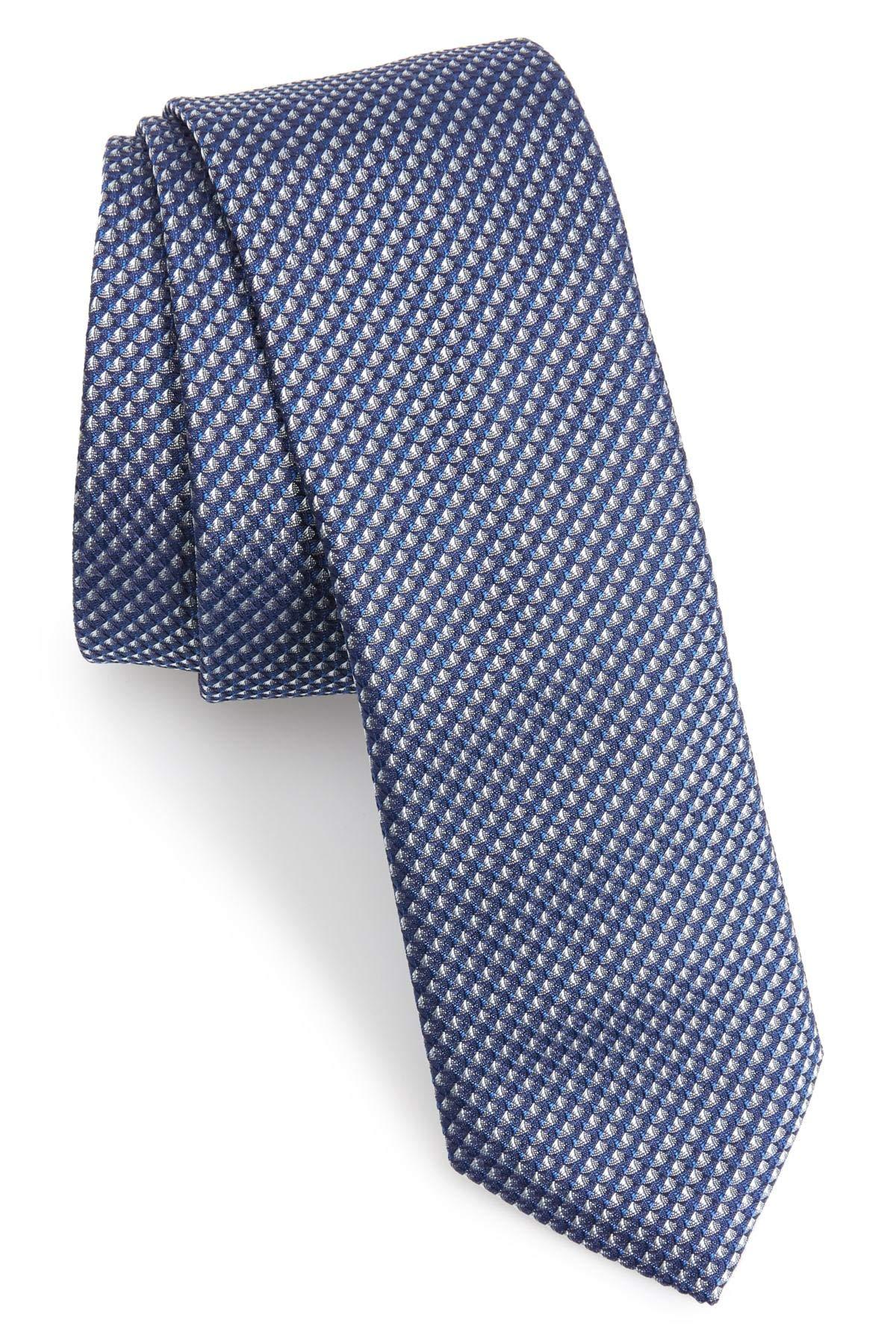 Hugo Boss Textured Slim Woven Italian Silk Tie, Blue 50390133