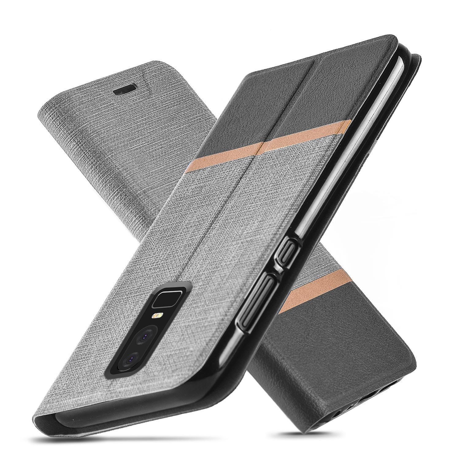 A Modern One Plus 6 Case, Ultra Slim Fit, Kickstand, Card Slot, Tpu Bumper, Anti Scratch, Flip Leather Pu Wallet Case For One Plus 6 (Gray) by Amazon