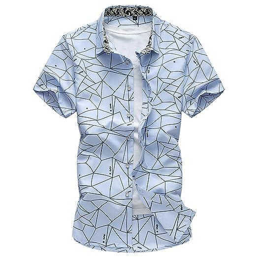 a001cf19693 Mofgr Men Short Sleeve Geometric Print Casual Shirt Plus Size 5XL 6XL 7XL  Navy blue M