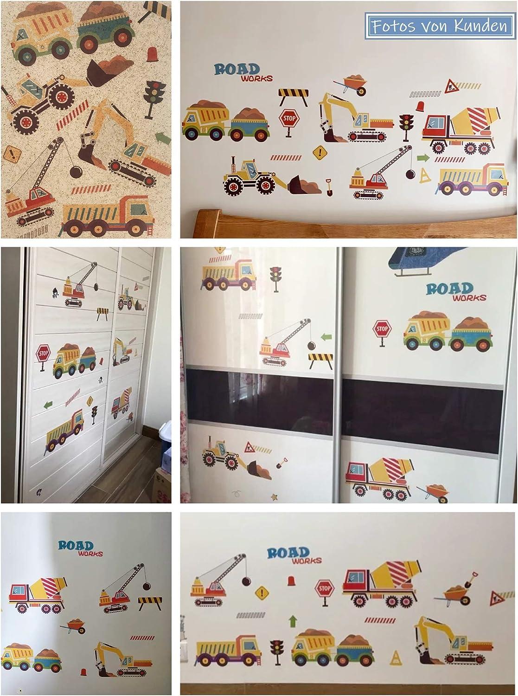 WandSticker4U Wandtattoo BAUSTELLE I Wandbilder 150x58 cm I Wandsticker Kinderzimmer Junge Auto Aufkleber Kinder Fahrzeuge Baumaschinen Bagger