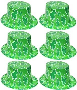 6 x Green Plastic Irish Shamrock Top Hats St Patricks Day Adults Fancy  Dress Costume Accessory  Amazon.co.uk  Toys   Games d2a26e464cba