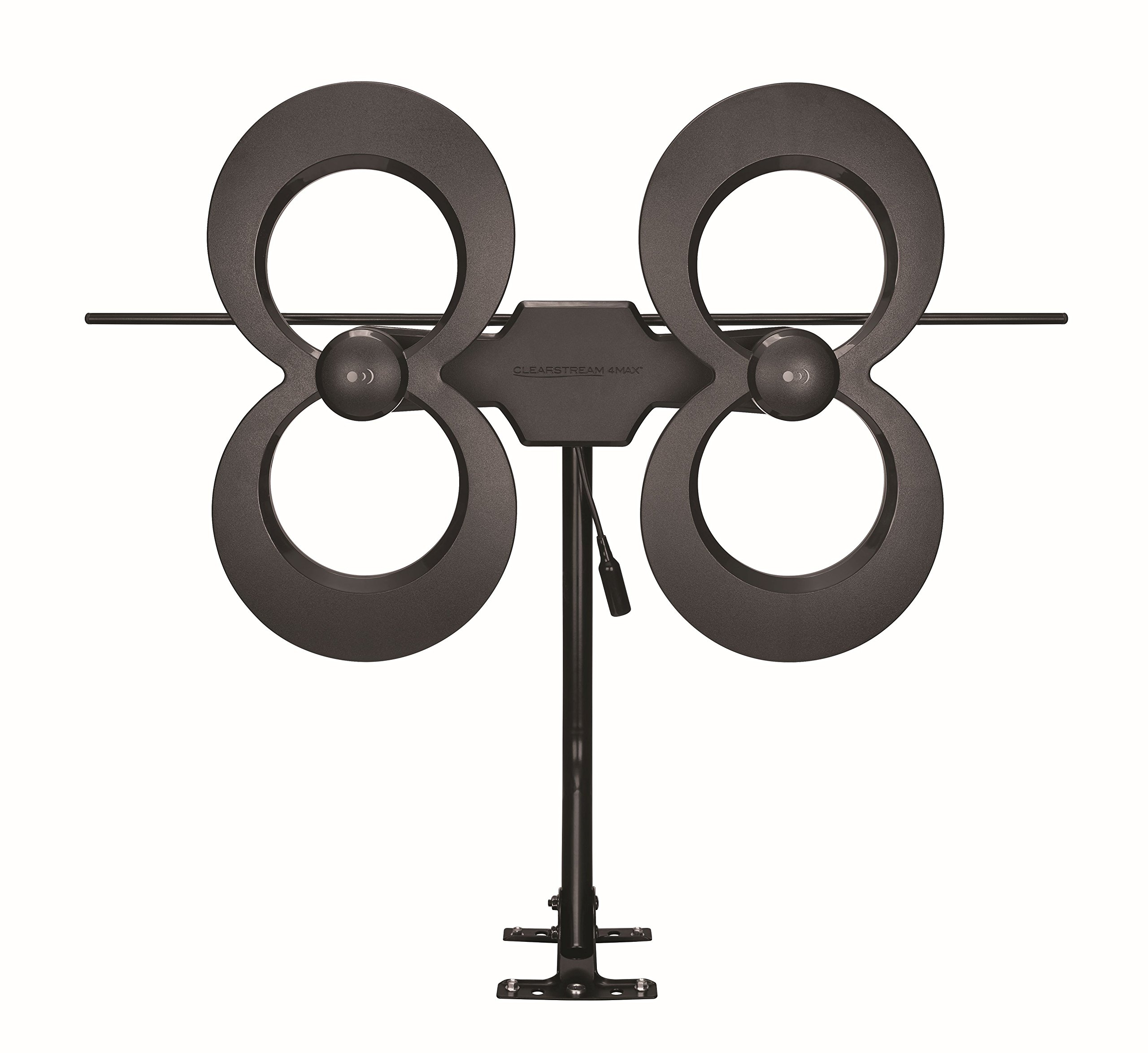 Antennas Direct ClearStream 4MAX TV Antenna, 70+ Mile Range, UFH/VHF, Multi-directional, Indoor, Attic, Outdoor, Mast w/Pivoting Base/Hardware/Adjustable Clamp/Sealing Pads, 4K Ready, Black - C4MVJ by Antennas Direct