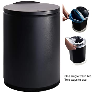 Kitchen Waste Basket | Pengke Plastic Trash Can 2 4 Gallon Garbage Can With Press Top Lid Black Modern Waste Basket For Bathroom Living Room Office And Kitchen