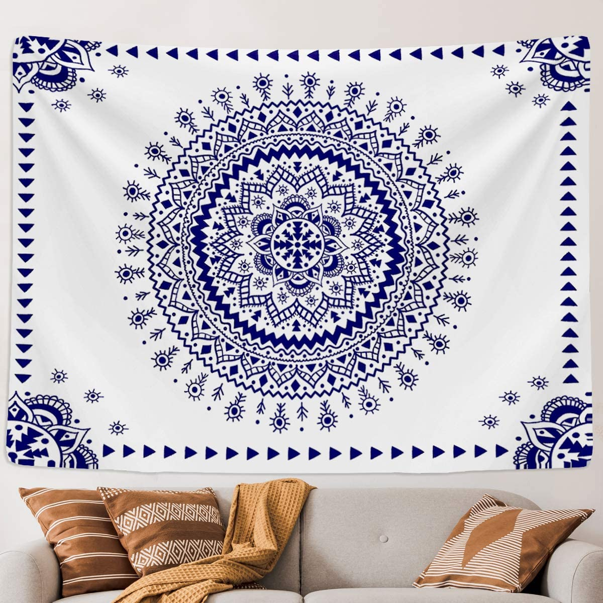 Blue and White Mandala Tapestry Wall Hanging, Indian Bohemian Navy Floral Pattern Home Decor Large Boho Turquoise Medallion Wall Sheet Art for Bedroom Home Dorm Living Room Ceiling with hook