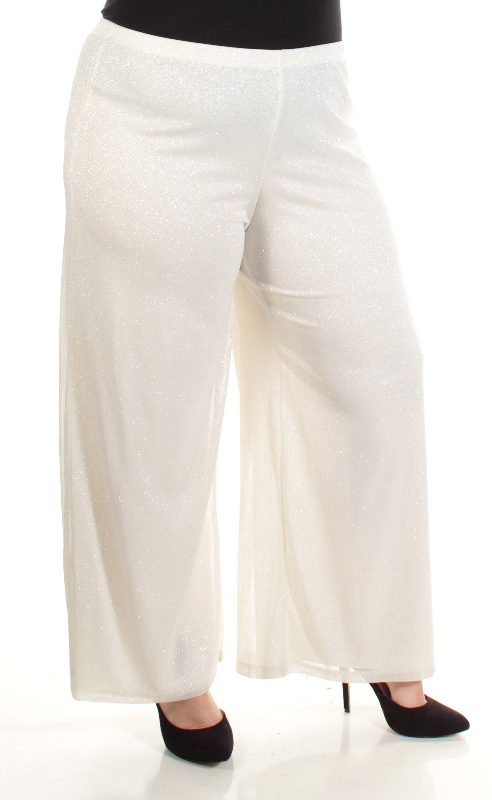 MSK Womens Petites Metallic Palazzo Casual Pants Ivory PXL