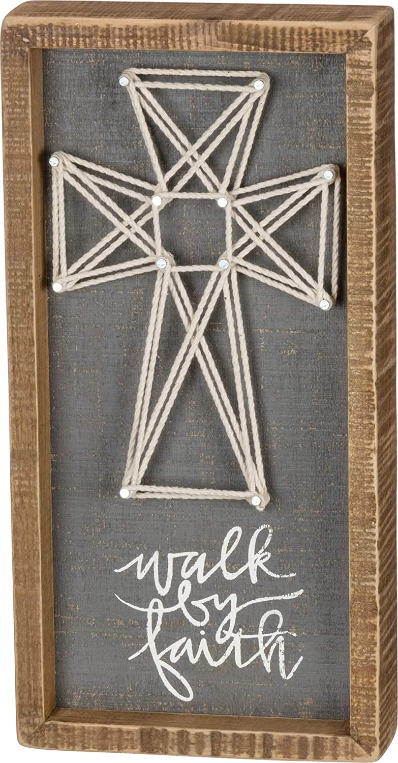 Primitives by Kathy 37655 String Art Inset Box Sign, 6 x 12-Inches, Walk by Faith