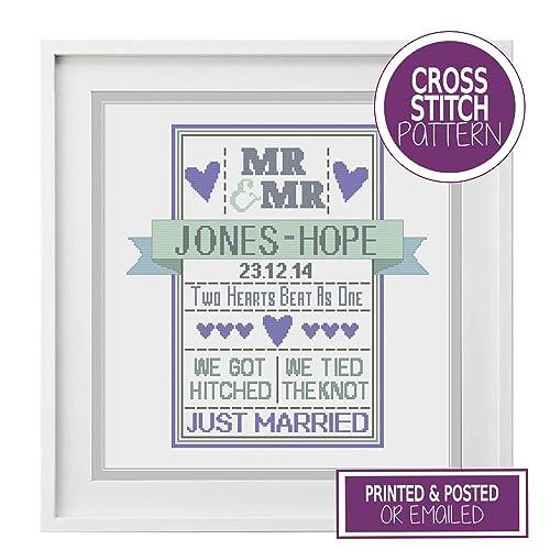 LGBT Mr & Mr Wedding Cross Stitch Chart - Modern Wedding Sampler ...