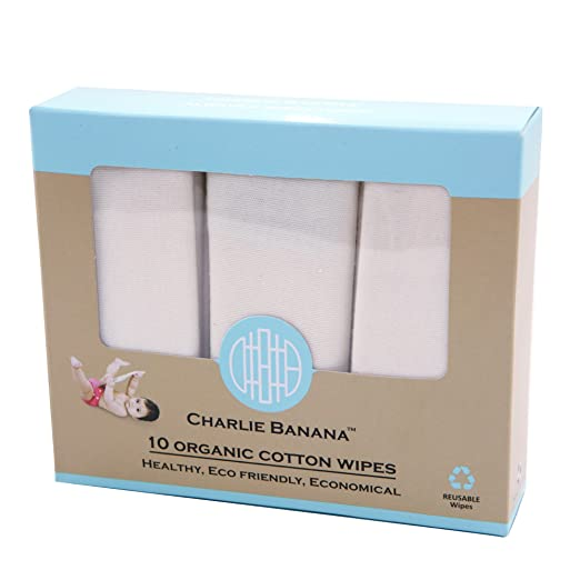 Charlie Banana 10 Reusable Organic Cotton Wipes