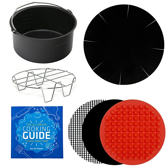 Air Fryer Power Accessories Baking Pan, Cooking Mats, Rack, Liner, Cookbook - Compatible with Gowise 2.7QT AirFryers, Secura 3.4QT, Emerald 3.2QT, Black + Decker 2L +More Sm to Med by Infraovens