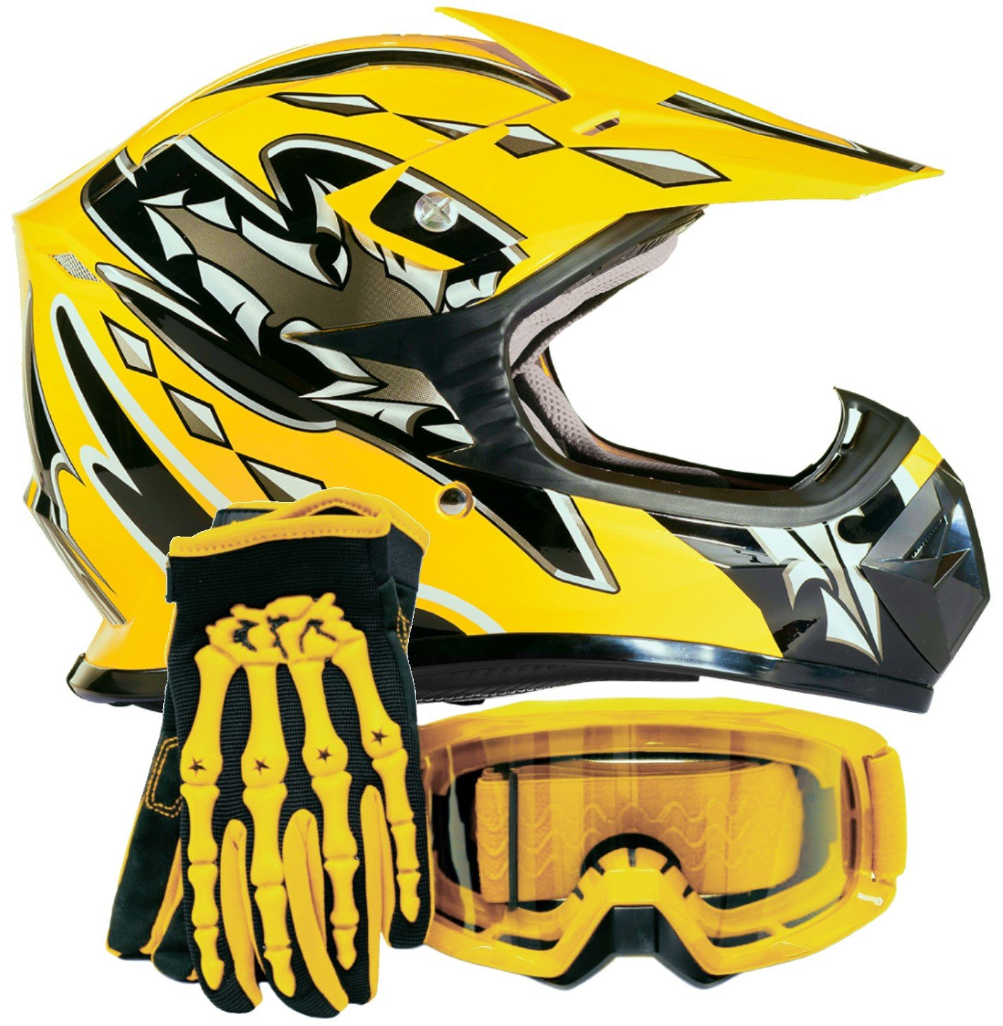 Youth Kids Offroad Gear Combo Helmet Gloves Goggles DOT Motocross ATV Dirt Bike MX Motorcycle Yellow, X-Large