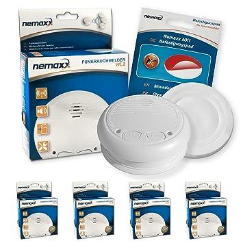 4X Nemaxx WL2 Detectores de Humo inalámbrico, Detectores de Incendios inalámbrico conectable en Red - Conforme la Norma EN 14604 + 4X Nemaxx NX1 Pad de ...