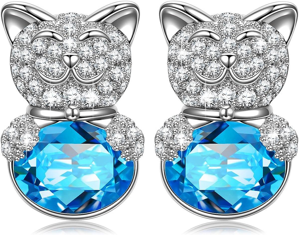 Kami Idea Mujer Pendientes de Botón, Gatito Afortunado, Cristales de Swarovski Aguamarina, Embalaje de Regalo, Regalos para Mamá