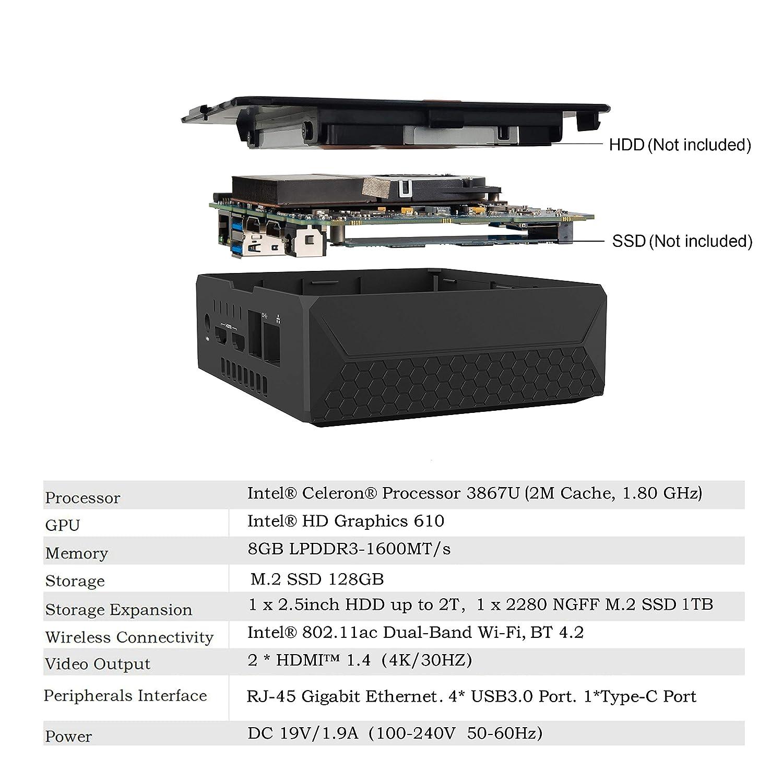 U300 Mini PC with 8GB RAM 128GB SSD, Intel Celeron 3867U Processor, HD  Graphics 610, Dual HDMI Output, 2 5G+5G WiFi, BT 4 2, 1000M LAN, Support