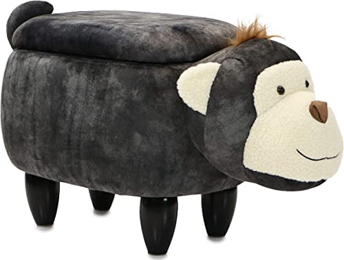 Critter Sitters Plush Dark 15″ Seat Height Animal Storage Gray Monkey-Faux Leather Look-Durable Legs-Furniture