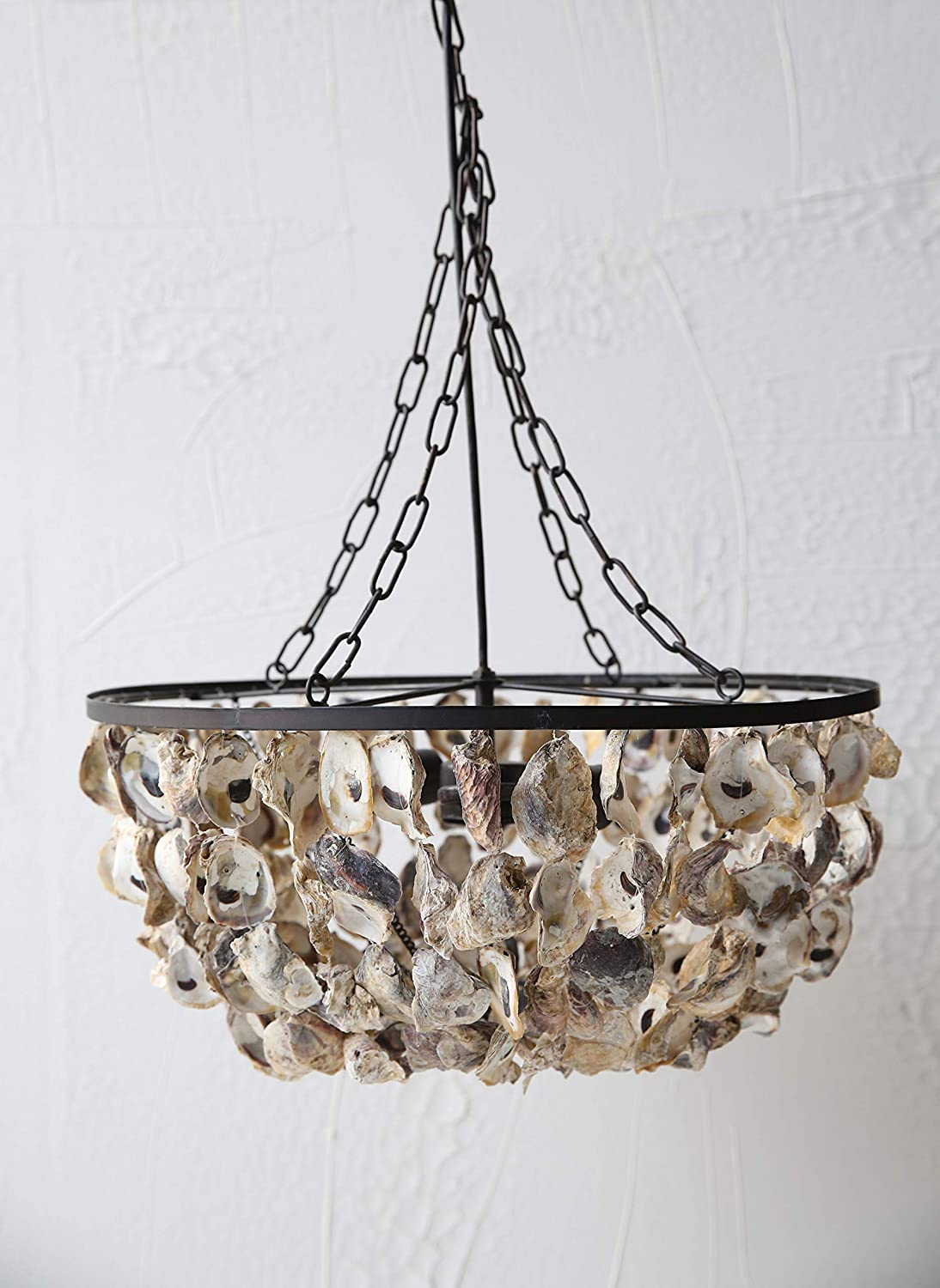 Creative Co-op Round Oyster Shell Chandelier with 2 Lights