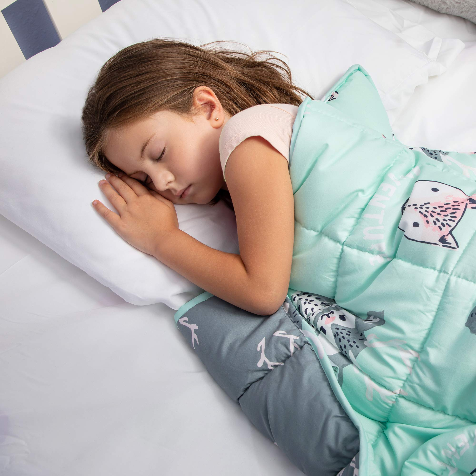 Weighted Blanket for Kids with Glass Beads, Drawstring Bag, 5 lbs - Soft, Quilted Sensory Blankets for Children with Anxiety, Insomnia, ADHD - Durable, Machine Washable Beaded Comforter for Toddlers by Life Tree