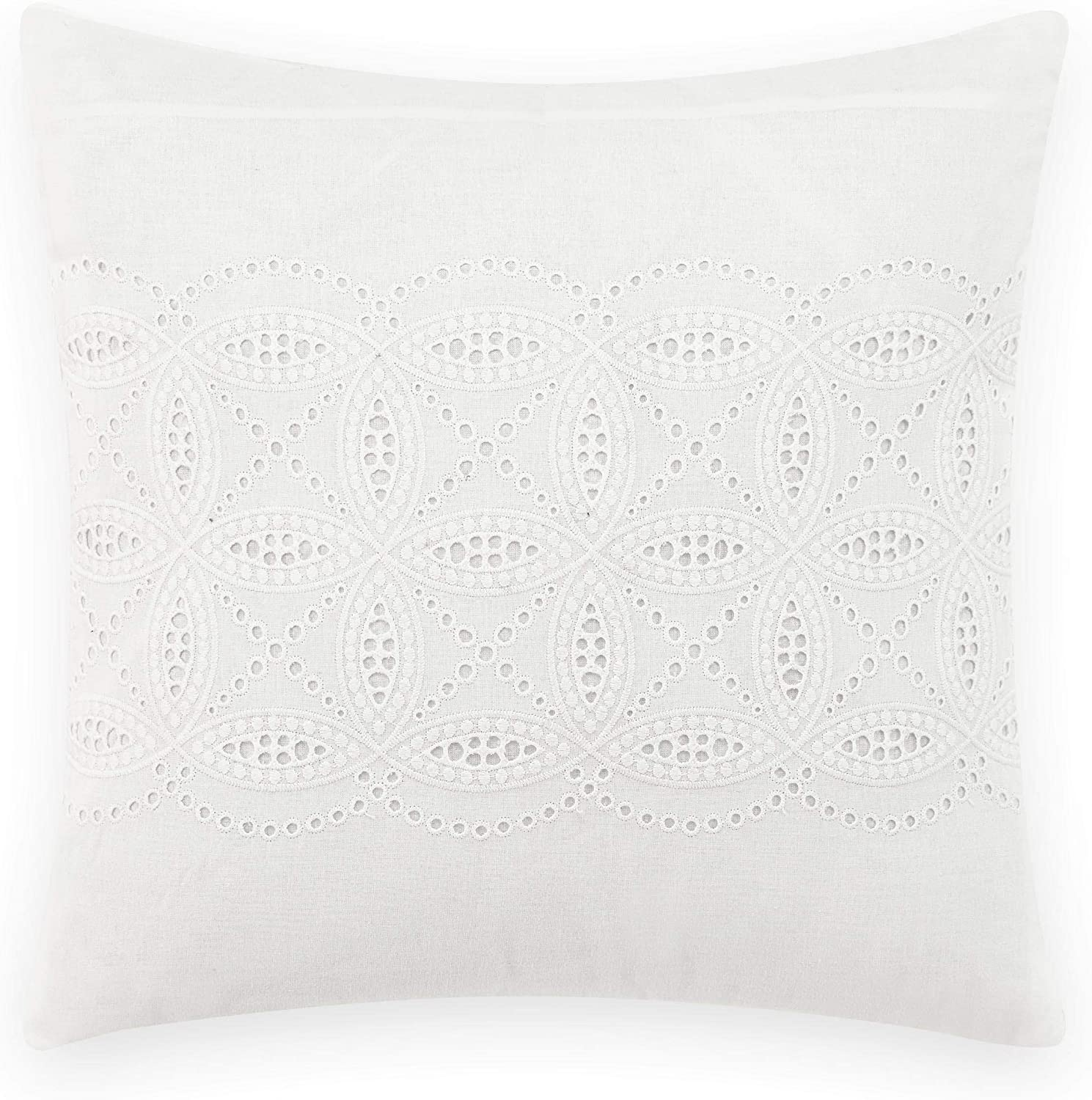 Laura Ashley Home | Annabella Bedding Collection | Perfect Decorative Throw Pillow, Premium Designer Quality, Decorative Pillow for Bedroom Living Room and Home Décor, 16 inch, White