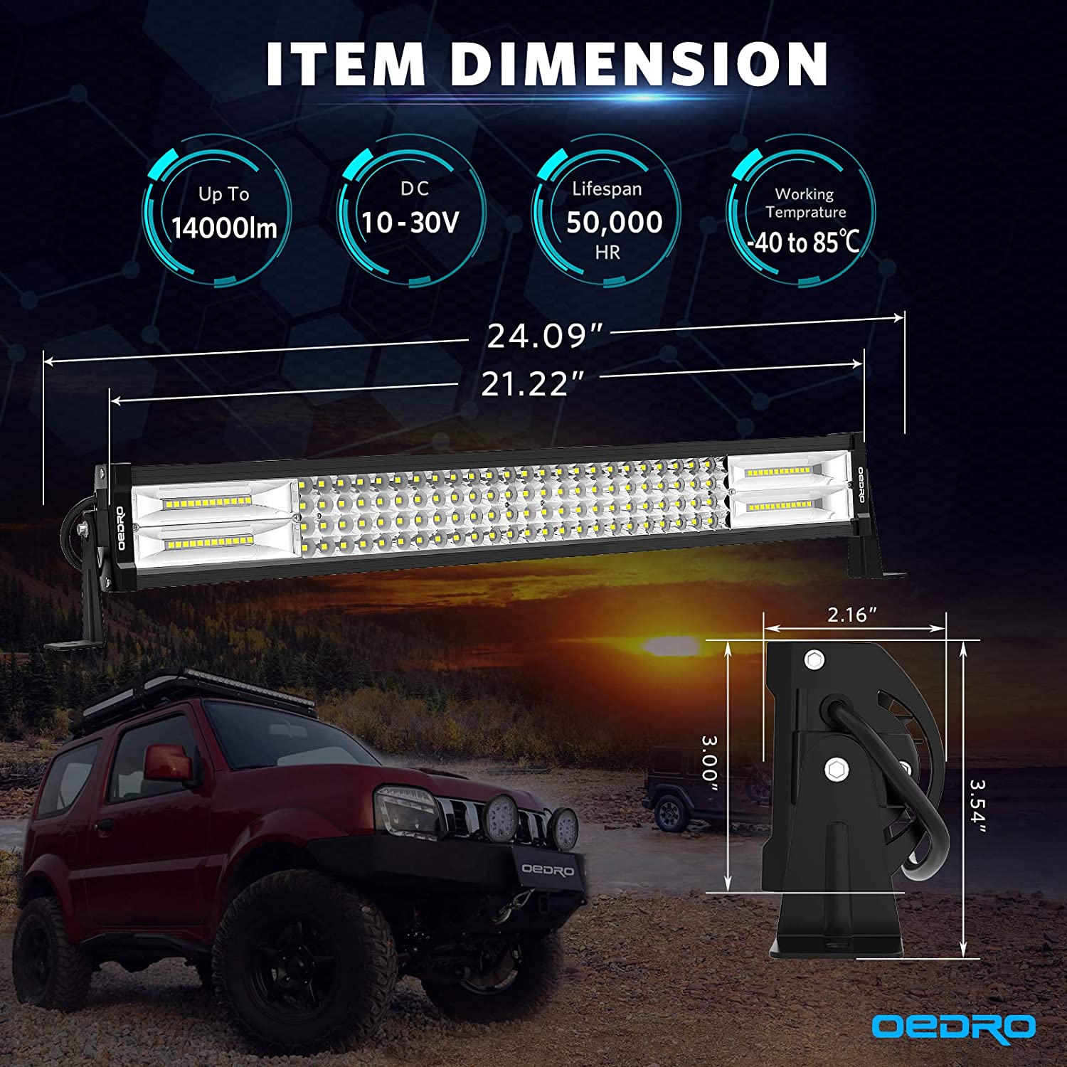 LED Light Bar OEDRO 22 Inch 520W 36400LM Quad-Rows Spot Flood Combo Led Lights Work Lights+Wiring Harness IP68 Grade Off Road Light 12V 24V Fit for Pickup Jeep SUV 4WD 4X4 ATV UTE Truck Tractor etc