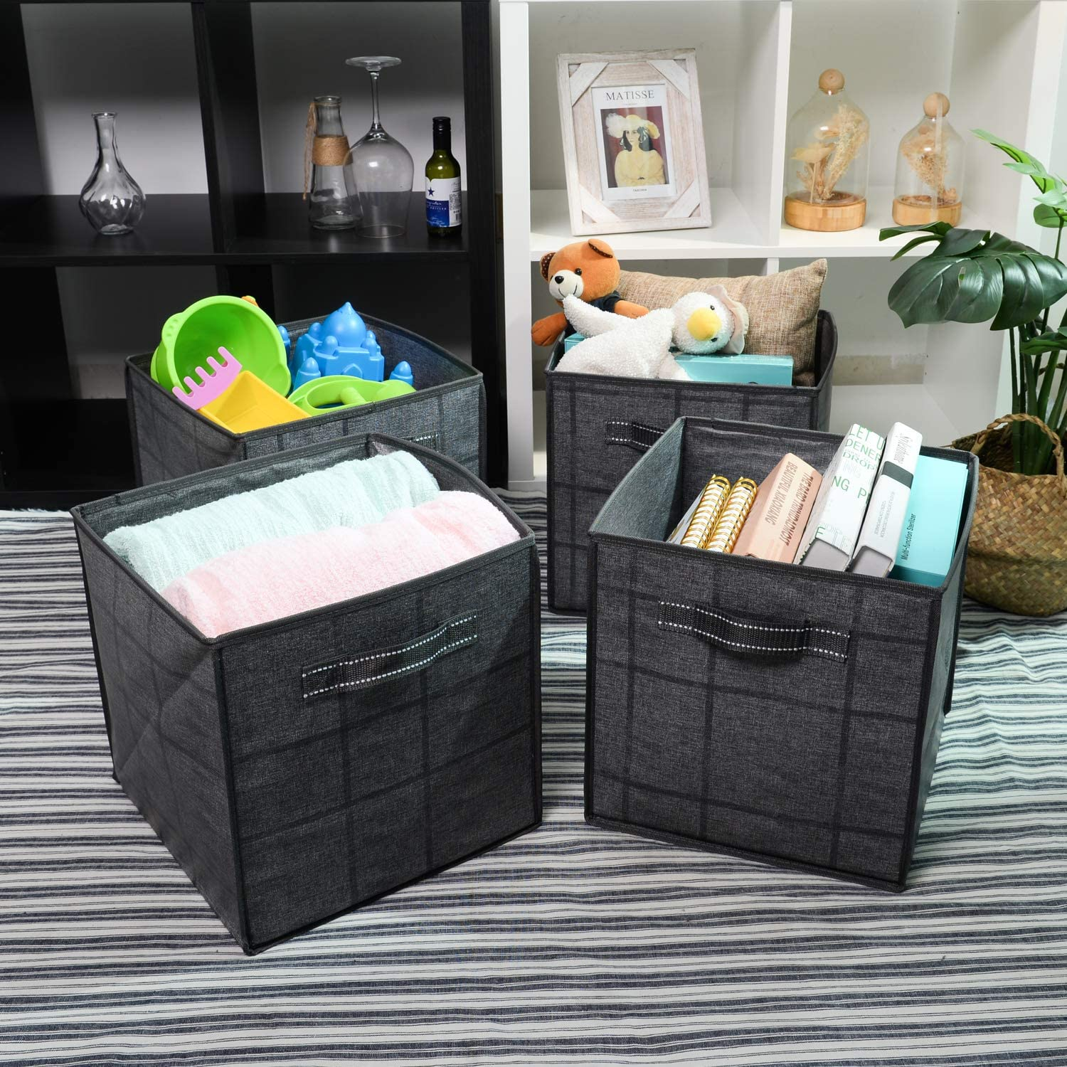 Made from Recycled Material VENO Foldable Storage Bin Cube Organizer Heavy-Duty Collapsible Basket with Handles for Toy Clothes Linen Sundry 10.5x10.5x10.5 Fits Shelving System 4-Pack Beige