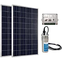 ECO-WORTHY 180W Panel Solar Bomba de agua eléctrica sumergible System: 2 pcs 12V 90W Panels + 24 V DC bomba de agua (funciona con energía solar)