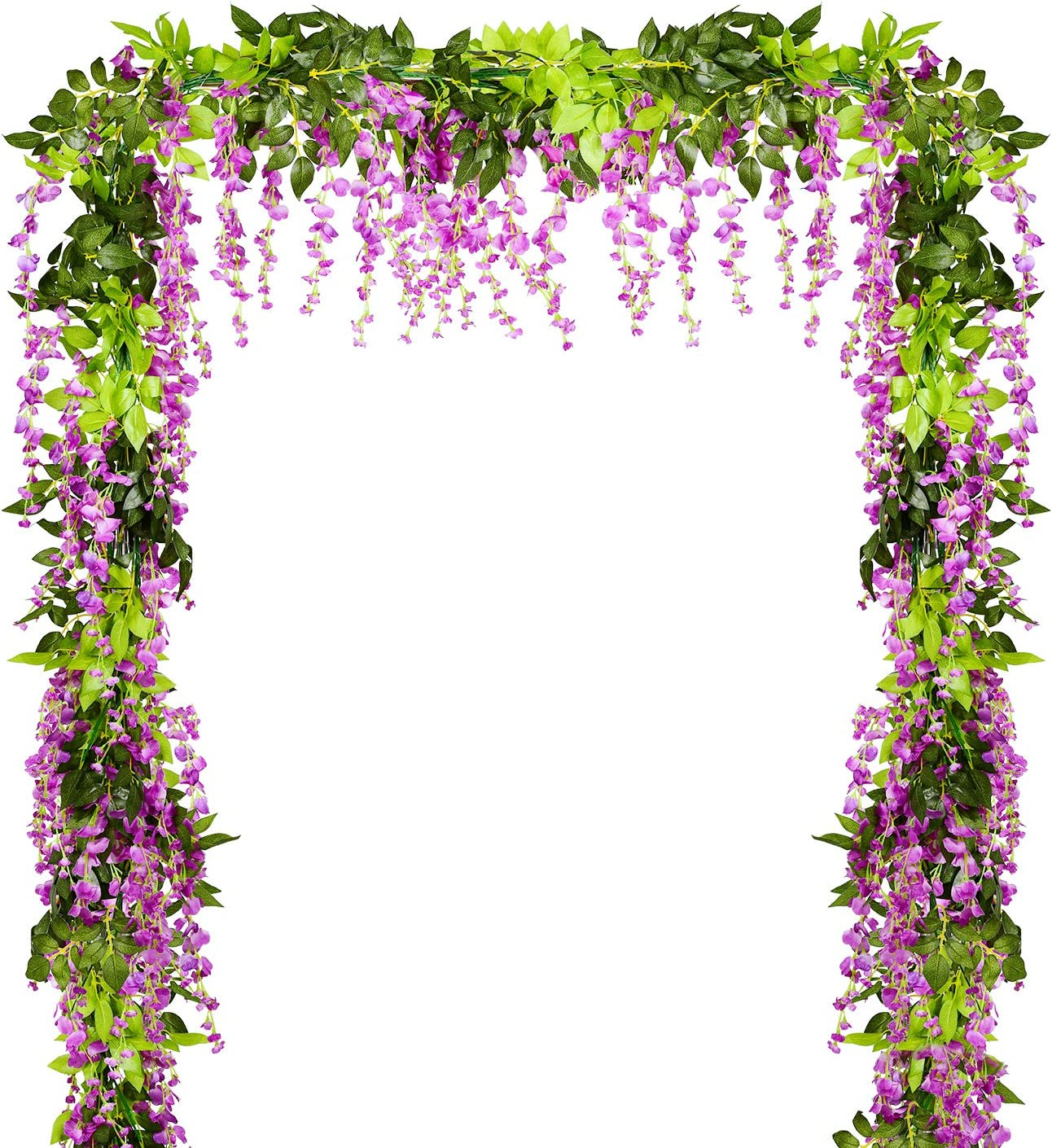 Lvydec Wisteria Artificial Flowers Garland, 4 Pcs Total 28.8ft Artificial Wisteria Vine Silk Hanging Flower for Home Garden Outdoor Ceremony Wedding Arch Floral Decor (Purplish Red)