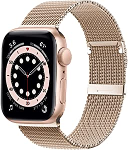Ewsprou Magnetic Band Compatible with Apple Watch 38mm 40mm 42mm 44mm, Stainless Steel Mesh Strap Replacement for iWatch SE iWatch Series 6/5/4/3/2/1 Women Men (Champagne Gold, 38mm 40mm)