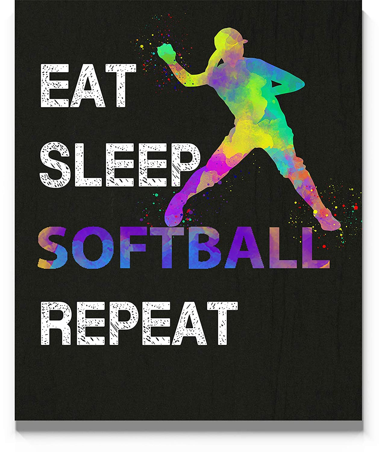 Amazon Com Eat Sleep Softball Repeat Wall Art 11x14 Inch Print Great Gift Idea For Softball Players Coach And Fans Handmade
