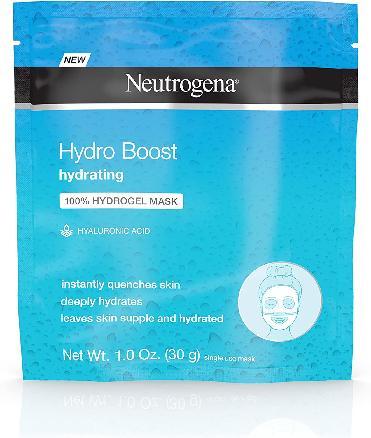 Neutrogena Hydro Boost Moisturizing & Hydrating 100% Hydrogel Face Mask Sheet with Hyaluronic Acid, 1 oz ( Pack of 10)