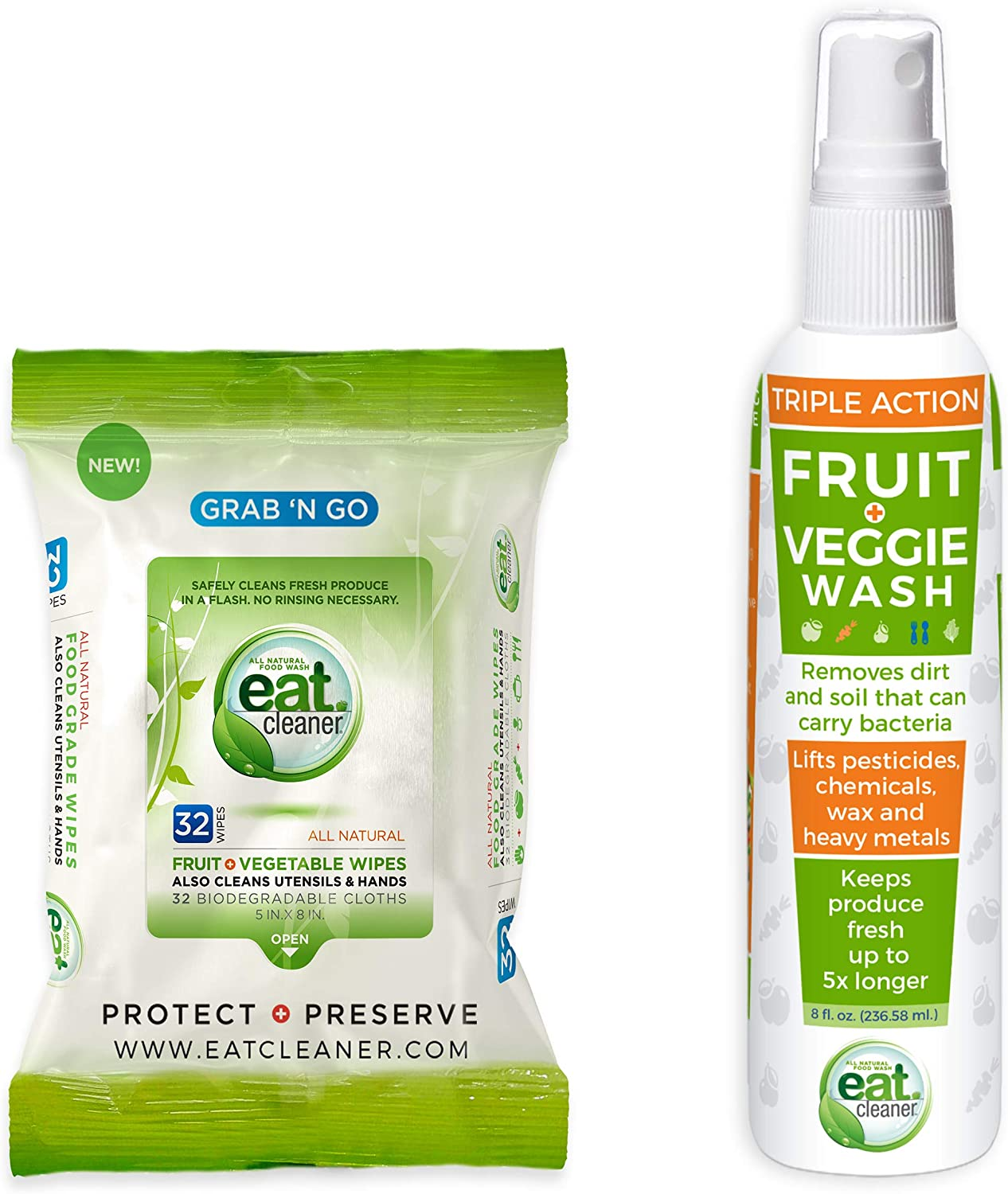 Eat Cleaner Try Us Bundle – Handy Food Grade Wipes (32ct) and Our Signature Fruit and Vegetable Wash Spray (8 oz), Lab Proven to be 99.9% More Effective Than Water
