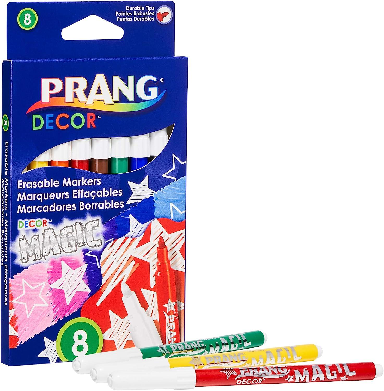 PRANG Decor Magic Erasable Art Markers, Washable, Non-Toxic, Fine Tip, 7-Color + 1 Eraser Set (74108)