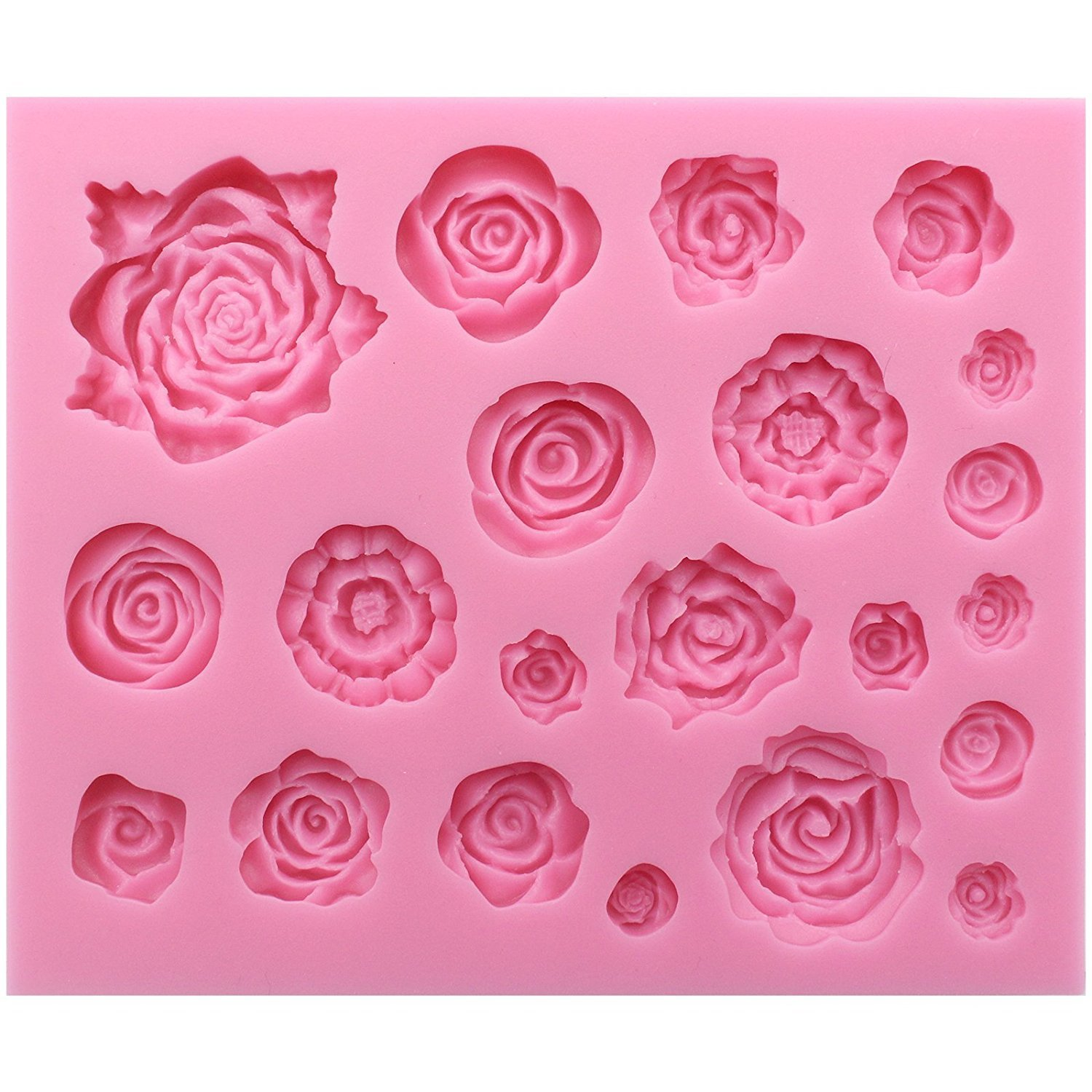 21-Cavity Rose Collection Fondant Candy Silicone Mold for Sugarcraft Cake Decoration, Cupcake Topper, Polymer Clay, Soap Wax Making Crafting Projects Kootips-1-4293