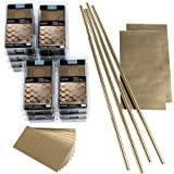 Aspect Peel and Stick Backsplash 3in x 6in Brushed Champagne Short Grain Metal Tile 15 Sq Ft Kit for Kitchen and Bathrooms