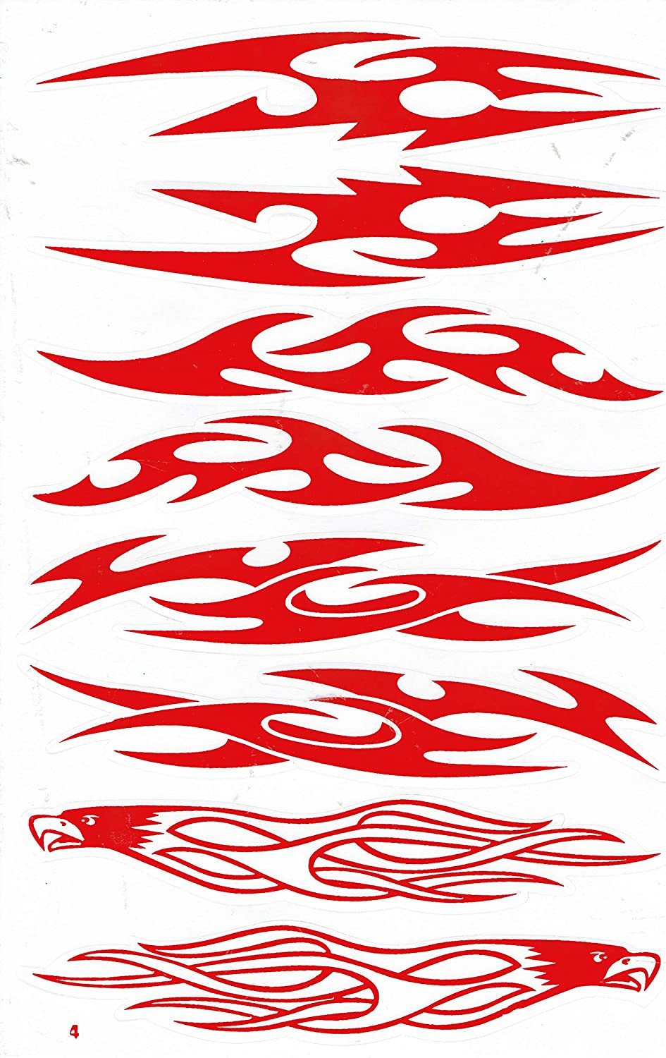 by soljo Flammes feu Rouge Sticker Tuning Racing Motocross Autocollant Feuille 27 x 18 cm