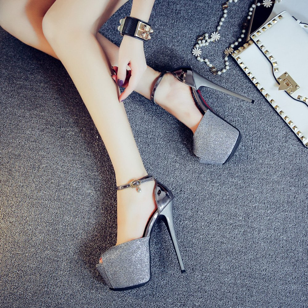 DYY High-heeled shoes sexy nightclub female fish mouth waterproof platform word buckle sandals,Gun color,34 by DYY (Image #2)