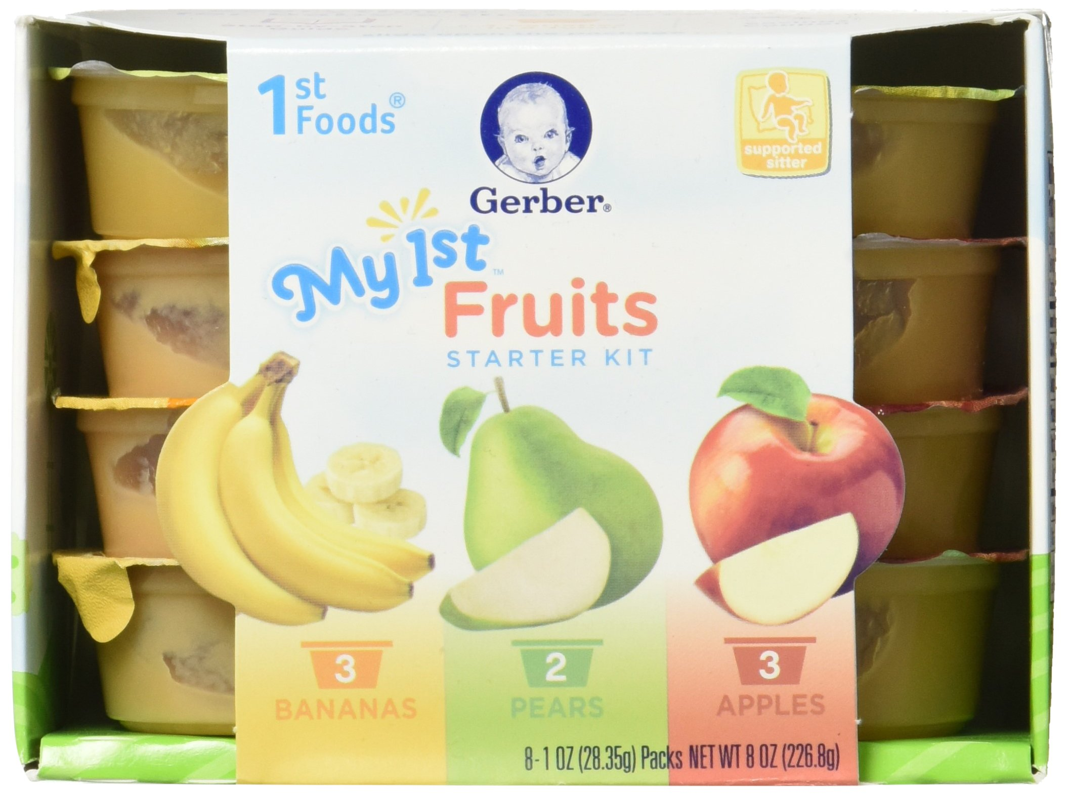 Gerber 1st Foods My 1st Fruits Starter Kit, 1 Ounce Tubs, 8 Count (Pack of 4)