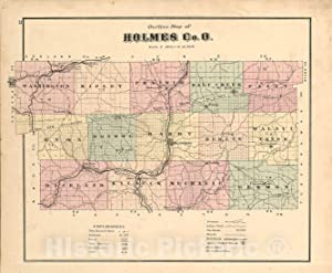 Historic 1875 Map - Caldwell's Atlas of Holmes Co, Ohio - Holmes County - Caldwell's Atlas of Holmes County, Ohio 54in x 44in
