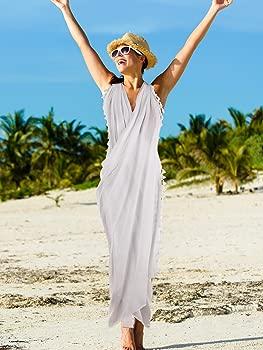 2 Piezas de Pareo Largo Batik de Playa de Mujeres Cubierta de Ba/ñador Pareo con Borla para Mujeres Chicas
