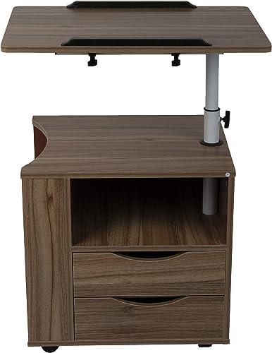 Mind Reader Bedside Workstation Adjustable Nightstand Swivel Top Couch Laptop Desk